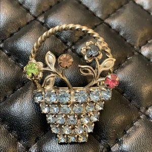 Vintage Art Deco Crystal Rhinestone Floral Brooch